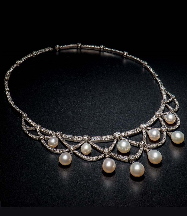 pearl and diamond necklace an antique pearl, and diamond necklace, european, c. 1880. necklace with rkevcnn