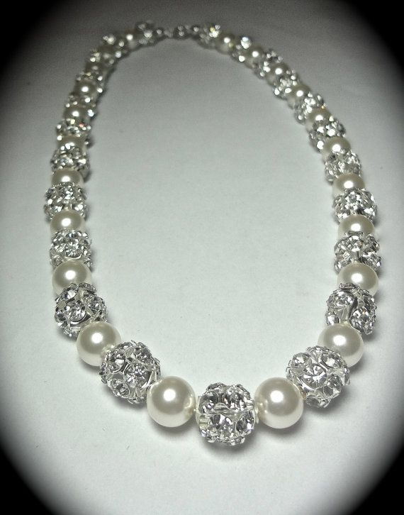pearl and diamond necklace pearl necklace ~ brides pearl necklace, swarovski pearl necklace, brides  necklace, wedding necklace, sparkling tpsoenq