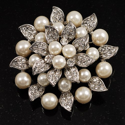 pearl brooch amazon.com: bridal synthetic pearl floral brooch (light cream): brooches  and pins: jewelry ubsoycu