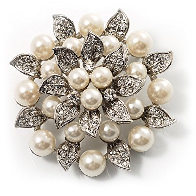 pearl brooch bridal synthetic pearl floral brooch (light cream) qccxkcw