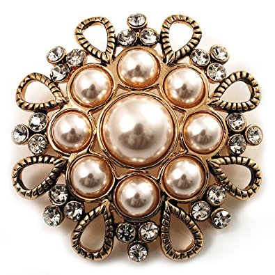 pearl brooch vintage wedding imitation pearl crystal brooch (burn gold tone) ottwbvh