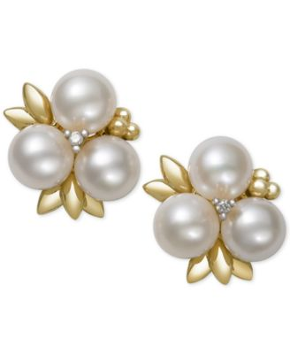 pearl earrings belle de mer cultured freshwater pearl (6mm) and diamond stud earrings in  14k gold eupmzbl