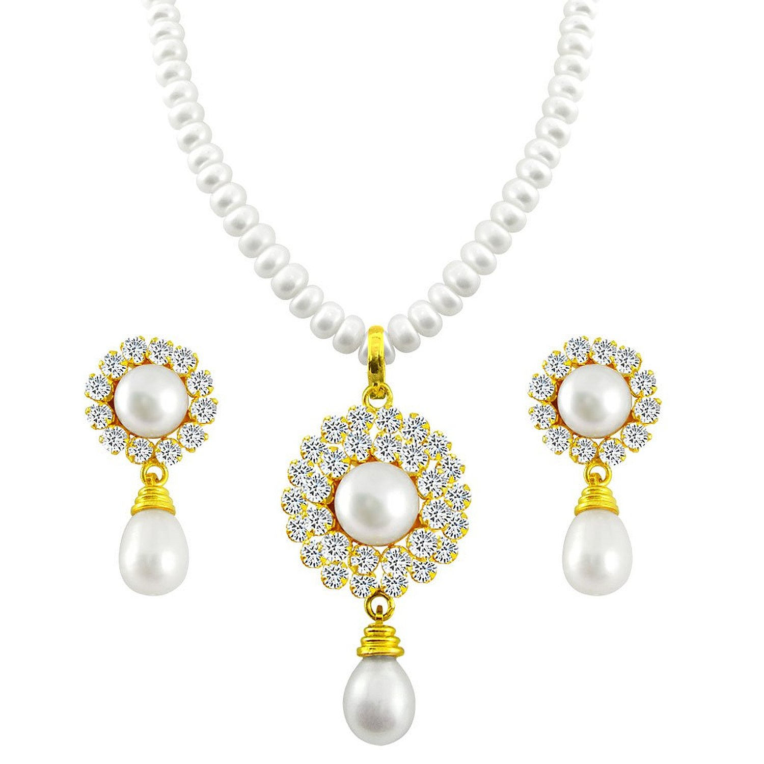 pearl jewellery buy sri jagdamba pearls pearl white pendant necklace with earrings set for  women/girls online nzugqcd