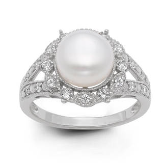 pearl ring gioelli sterling silver freshwater pearl and created white sapphire ring  (9.5 mm) hxbbtgn