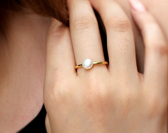 pearl ring,gold ring,stack ring,simple pearl rings,delicate ring, jpxleyi