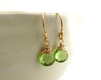 peridot jewelry gold peridot earrings, lime green gemstone earrings, gold filled delicate  earrings, august birthstone zwhowih