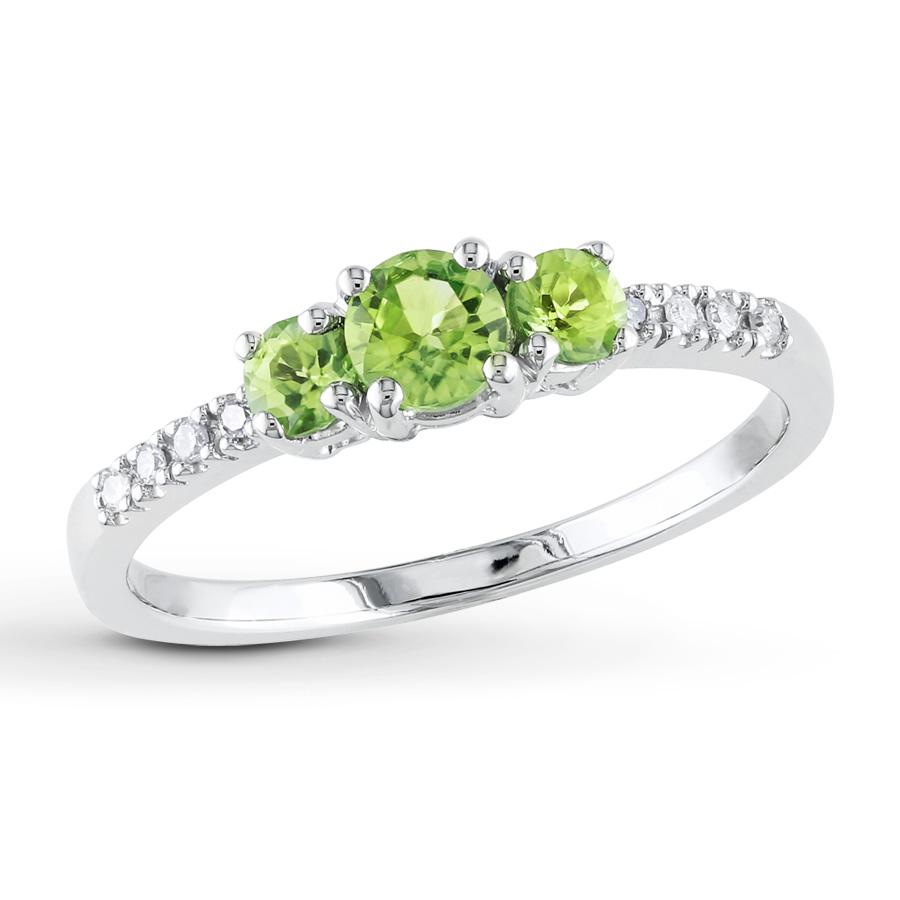 peridot rings 3-stone peridot ring 1/20 ct tw diamonds 10k white gold rfdlvje