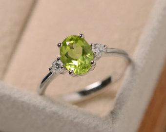 peridot rings natural peridot ring silver, oval gemstone, august birthstone entidno