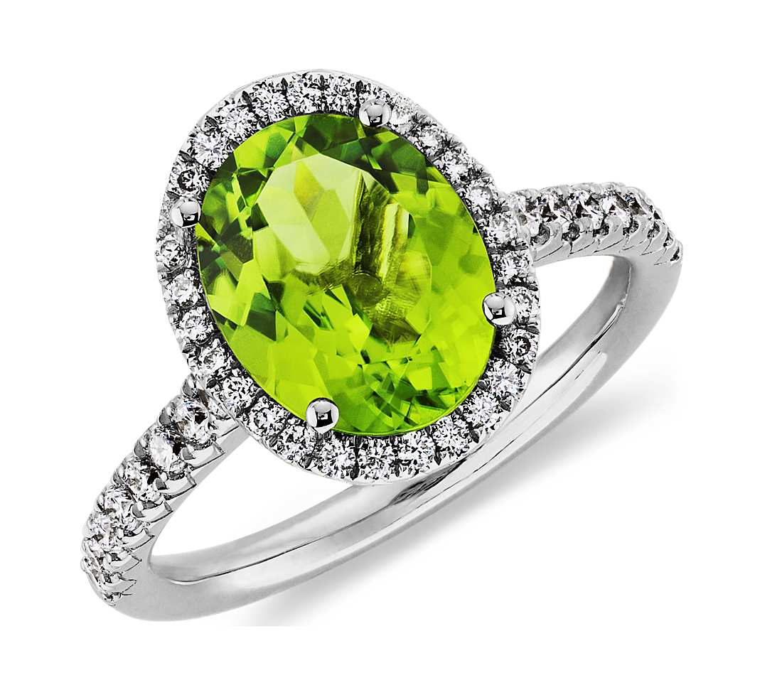 peridot rings peridot and diamond halo ring in 18k white gold (10x8mm) qjppfng