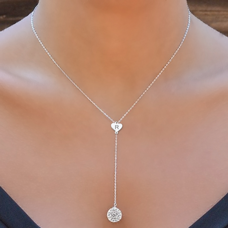 personalized lariat necklace with crystal ball pwvsrlu