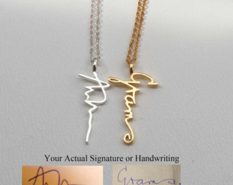 personalized necklaces actual personalized necklace - handwriting jewelry - custom necklace -  engagement necklaces - vertical mkwbuls