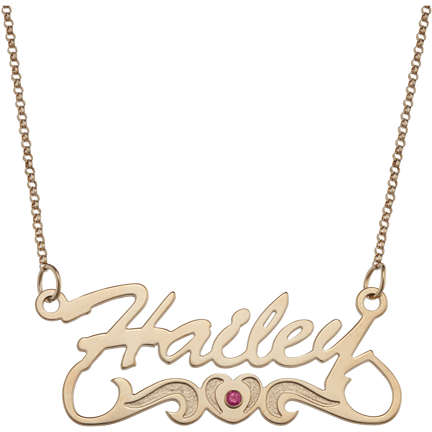 personalized necklaces personalized script name with birthstone heart tail 14kt gold-plated  necklace, 18 qgrkxtx