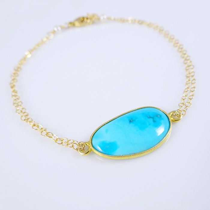 picture of bezel set turquoise bracelet rnrchsg