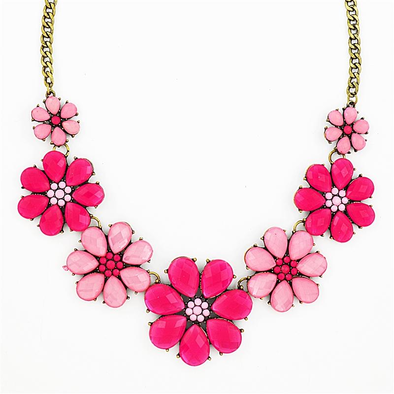 pink flower necklace, pink necklace, bib necklace, hot pink necklace,  crystal necklace dvwxxqp