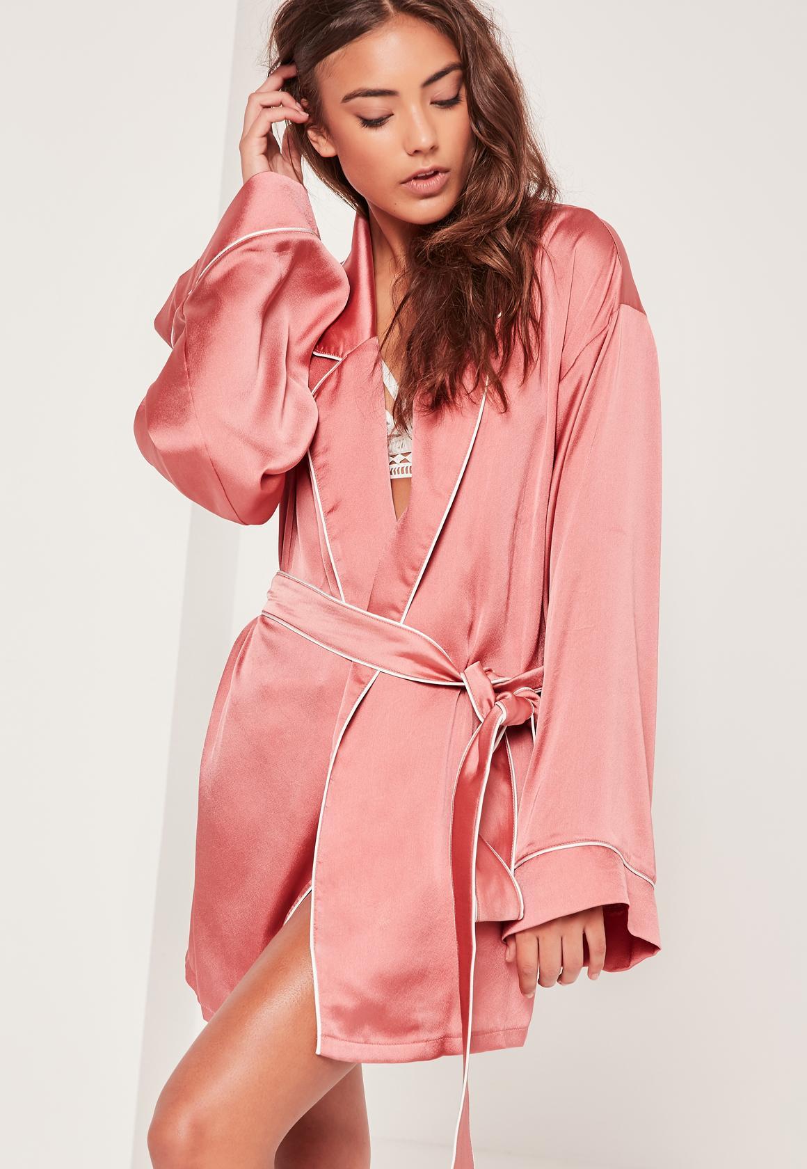 pink kimono piped detail silk robe rlpfyfz