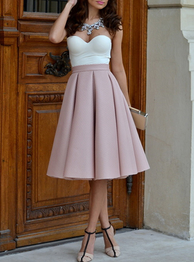 pink pleated skirt - midi length / high waisted rxaozny