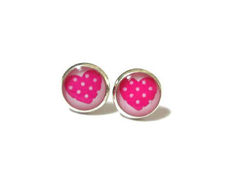 pink stud heart earrings - studda earrings - small heart earrings - girls  earrings cadjgec