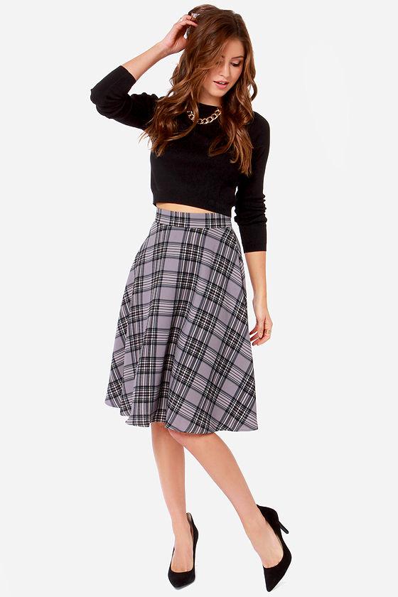 plaid skirt - grey skirt - midi skirt - $58.00 orkrvcr