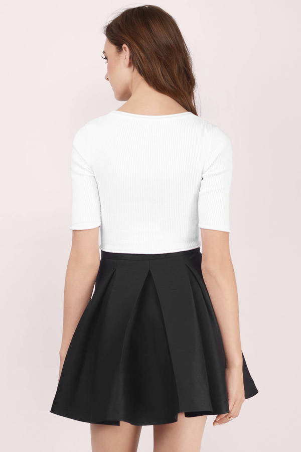 pleated skirt ... myah pleated black skater skirt ... iusnveb