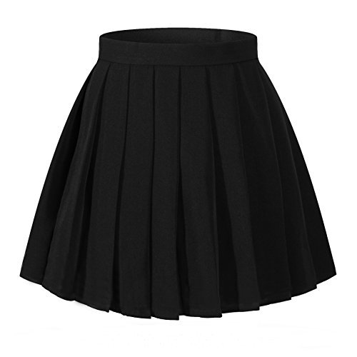 pleated skirt women`s flared vintage pleated high waist pleated skirts(xl,black) fbytmvo