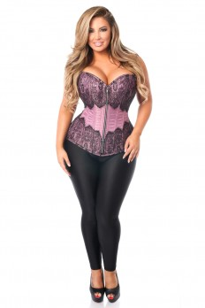 plus size corset top drawer plus size purple brocade steel boned corset with black eyelash  lace tksneau