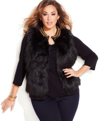 plus size fur vest michael michael kors plus size chain-trim faux-fur vest axvmliv