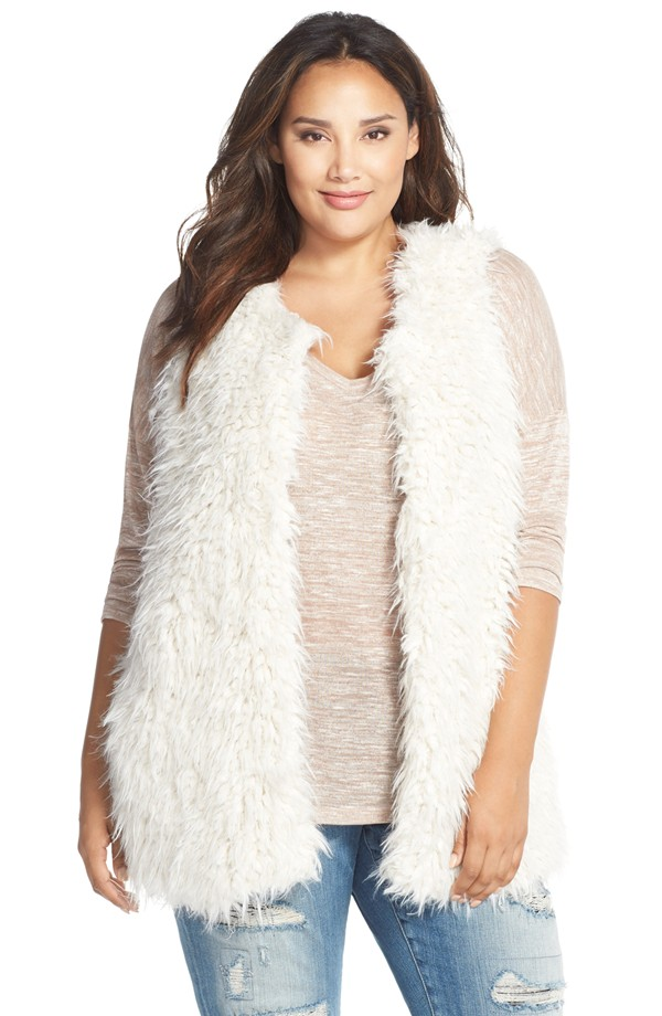 plus size fur vest two by vince camuto oversized shaggy faux fur vest (plus size) | nordstrom ittpamg
