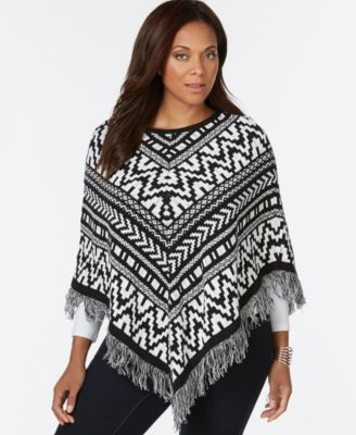 plus size jacquard fringe poncho sweater, only at macyu0027s iyeultm