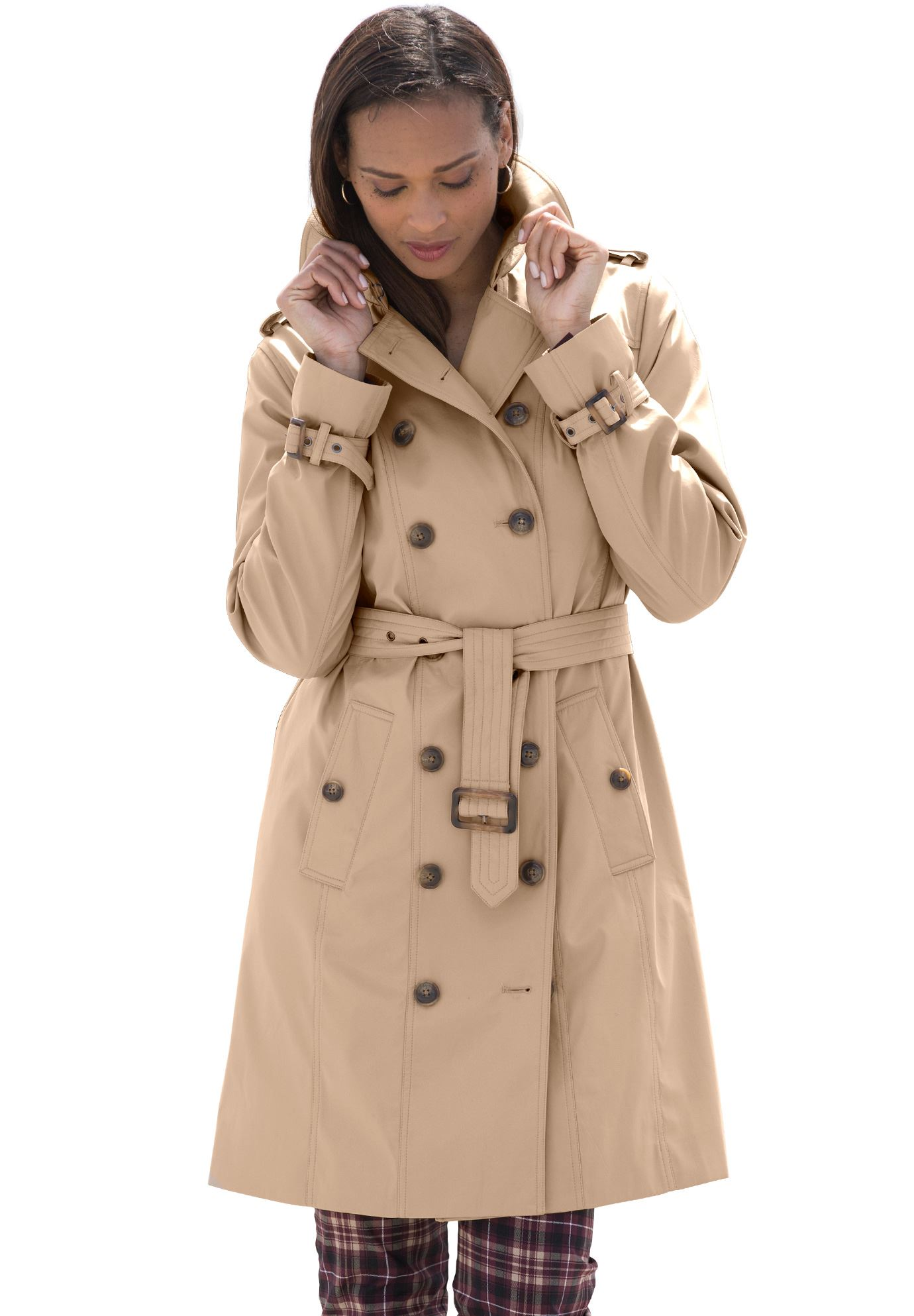 plus size trench coat short belted trench coat ipxjveu