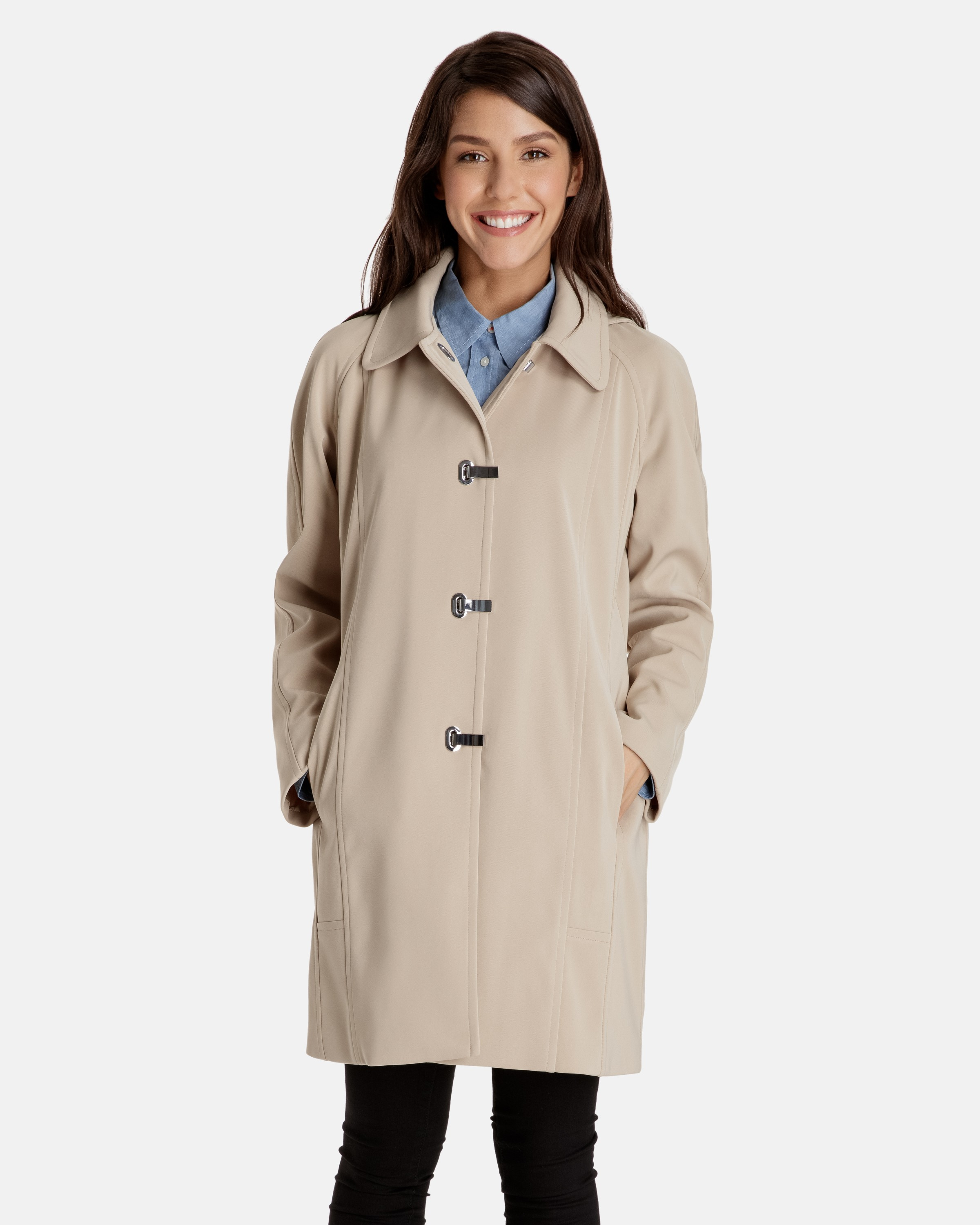 plus size trench coat taylor a line clip coat with detachable hood dagxitq