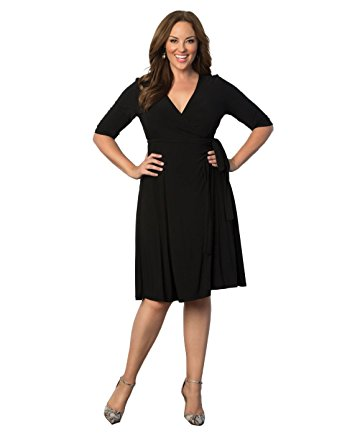 plus size wrap dress kiyonna womenu0027s plus size essential wrap dress 0x black noir xswchet