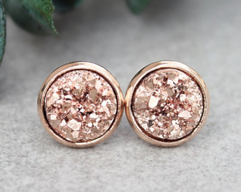 post earrings rose gold stud earrings, rose gold druzy earrings, rose gold earrings, rose  gold hnouhck