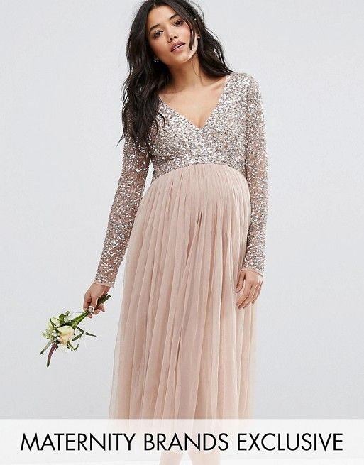 pregnant dresses maya maternity | maya maternity long sleeve midi dress with delicate sequin  and tulle capnsyv