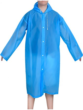 rain coat mudder portable drawstring raincoat rain poncho with hoods and sleeves  (blue) upvgecs