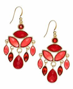 red earrings gold-tone red stone chandelier earrings hyhmkav