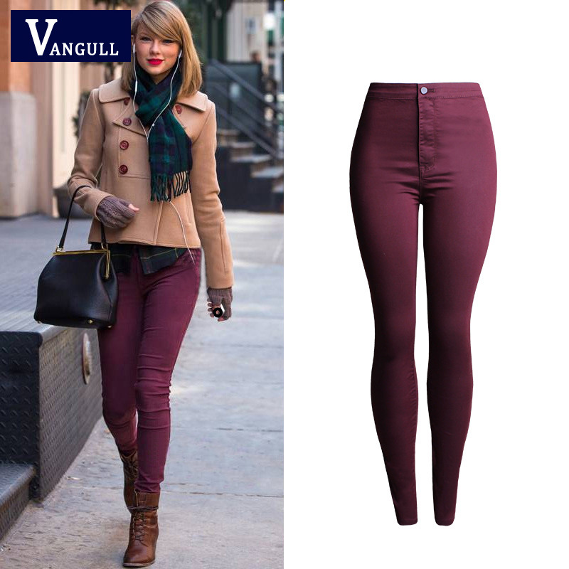 red jeans for women woman pencil casual dark red denim stretch skinny 2016 spring fashion  female jeans pants cgsrole