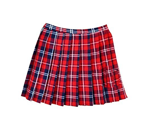red plaid skirt women school uniforms plaid pleated mini skirt, waist(88cm/34.5inch) 4xl,  bright red plwwbfo