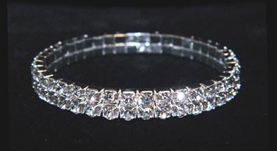 rhinestone bracelets 15951xs two row stretch rhinestone bracelet - crystal silver fzxqzcw