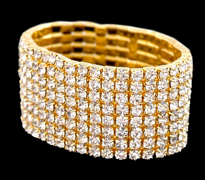 rhinestone bracelets bridal bracelets 8 row gold tone stretchable rhinestone bracelet gcayvlo