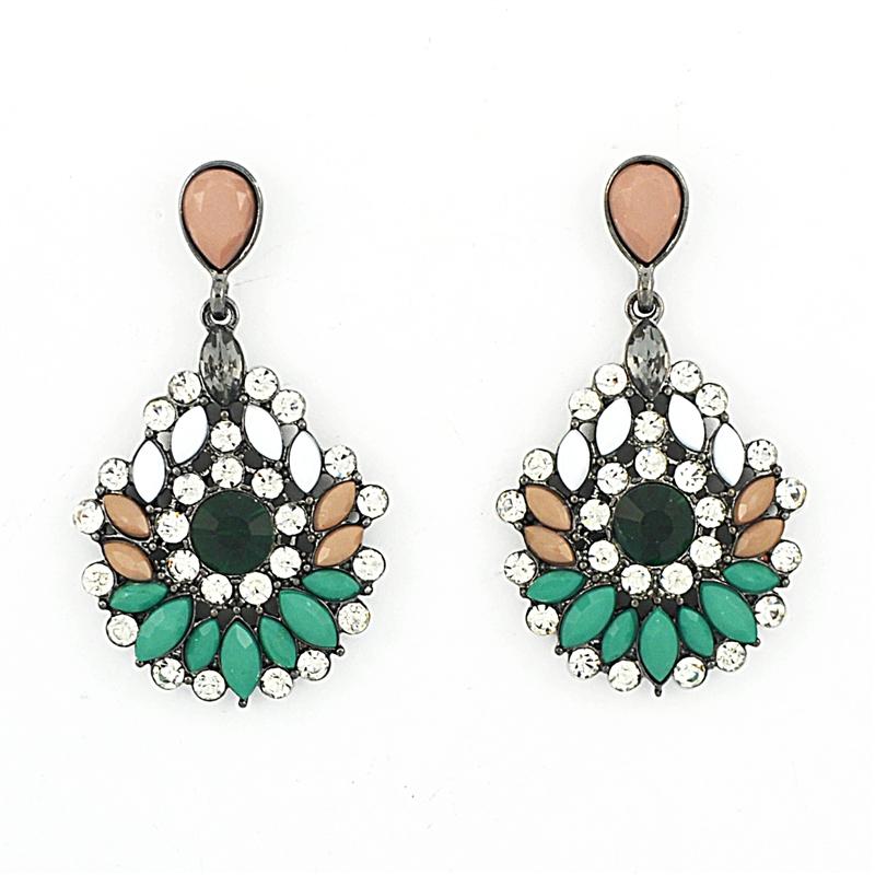 rhinestone earrings chrysanthemum drops, statement earrings, mixed stone earrings, crystal and  stone earrings, dangle ctgortu