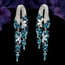 rhinestone earrings new fashion rhodium plated blue s crystal rhinestone drop dangle earrings  02931 qzkirsp