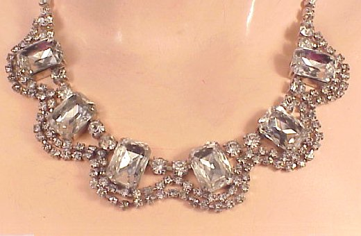 rhinestone necklace a row of smaller rhinestones descend to the marvelous dramatic drops of  eye-popping larger ipcjsio