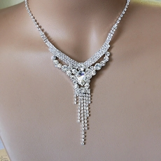 rhinestone necklace kasie rhinestone all clear silver necklace set rhtfyhe