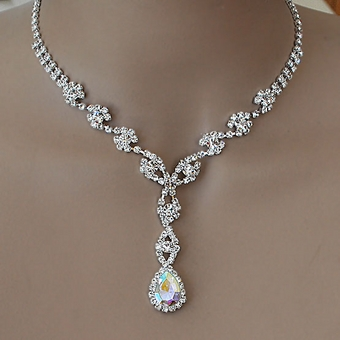 rhinestone necklace style ab-reflective silver rhinestone jewelry set tbqzqsy