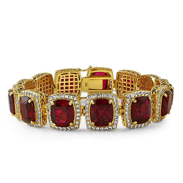 rick ross style gold lab ruby bracelet bling tdkmkzv