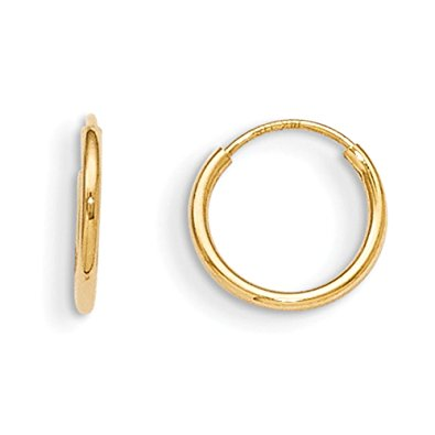 ring earrings 14k yellow gold 10mm childrenu0027s endless hoop earrings - baby earrings otaihft