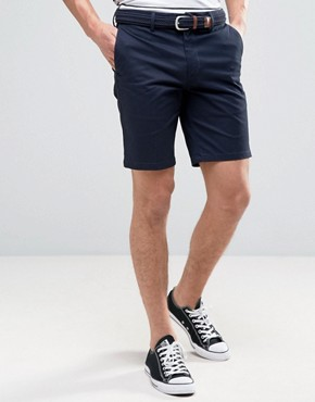 river island slim fit chino shorts with belt in navy pdvlmwd