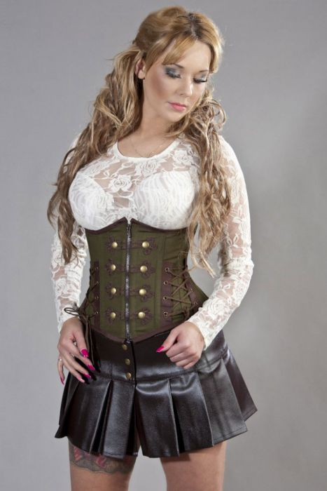 rock underbust corset in olive green and brown twill oinrhuy