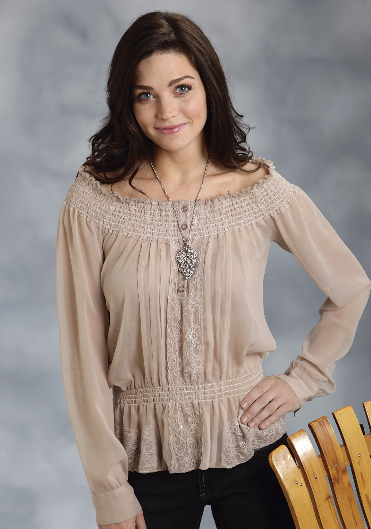 roper® womenu0027s taupe and lace long sleeve western peasant blouse isoximz