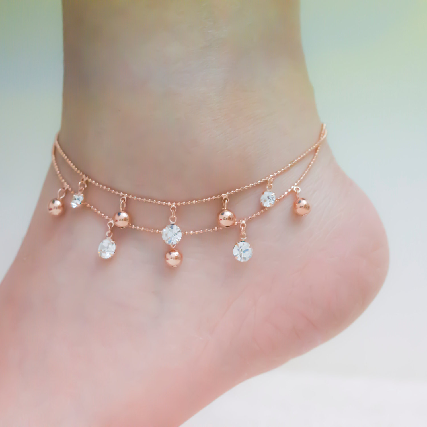 bracelet gold jewels heart elle product anklet chain by diamond karat ankle